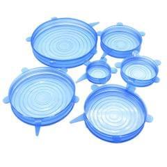 6pcs/ Set Reusable Silicone Stretch Lids Wrap Bowl Seal Covers Blue