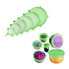 6pcs Silicone Wraps Seal Bowl Covers Food Storage Stretch Lids Green Round