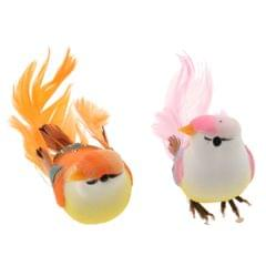 2pcs Artificial Birds Feather Foam Simulation Birds Home Decor with Clip