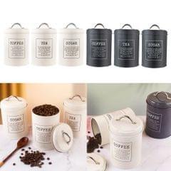 3x Kitchen Storage Jar Tea Coffee Sugar Canisters Tin Bin Pot with Lid White