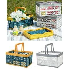 Plastic Grocery Shopping Basket Car Trunk Folding Storage Basket Blue Yellow