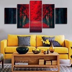 5 Pieces Modern Art Canvas Art Wall Paintings Red Forrest Print 30/40/50cm