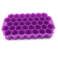 Flexible Silicone Honeycomb Design 37 Cavities Ice Cube Tray Ice Cube Mold for Freezer Silicone Ice Tray Whiskey Ice Cube Tray for Small Cubes Fridge (Random Color Pack of 1)