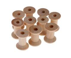 10 PIECES WOODEN EMPTY THREAD SPOOLS REELS BOBBIN FOR SEWING RIBBONS 28X21MM