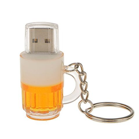 Generic Cartoon Beer Cup Shape Gift Keychain USB Flash Disk PenDrive Memory Stick 16GB