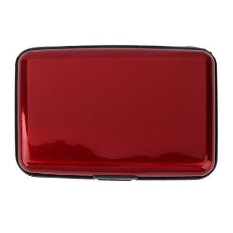 Mini Waterproof Aluminum Metal Business ID Credit Card Holder - Red
