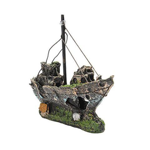 Aquarium Ornament Wreck Sailing Boat Sunk Ship Destroyer Fish Tank Cave DIY
