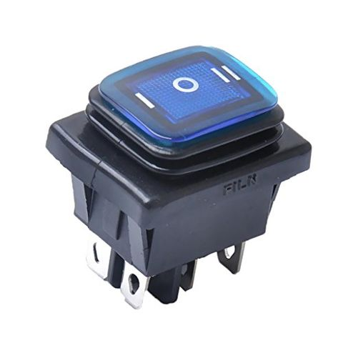 6 Pin On-Off-On Car Boat Lighted Rocker Toggle Switch Waterproof Blue