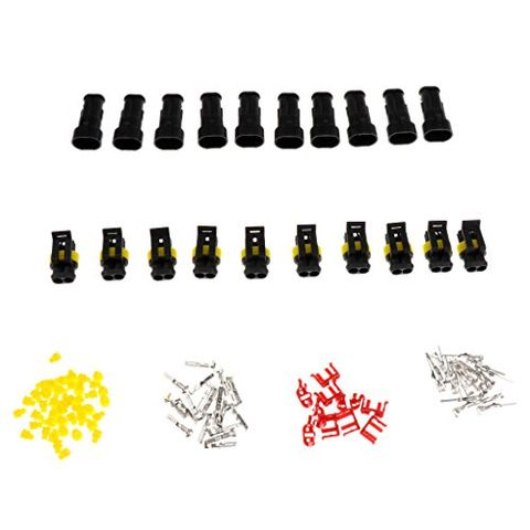 Car Waterproof Electrical Connector Plug, 10 Kit 2 Pin Way Waterproof Connector Super Seal Terminal Sockets AC/DC