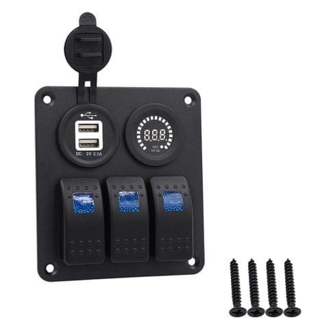 DC12V-24V 3 Gang Marine Blue LED Switch Panel+ Dual USB + Color Voltmeter