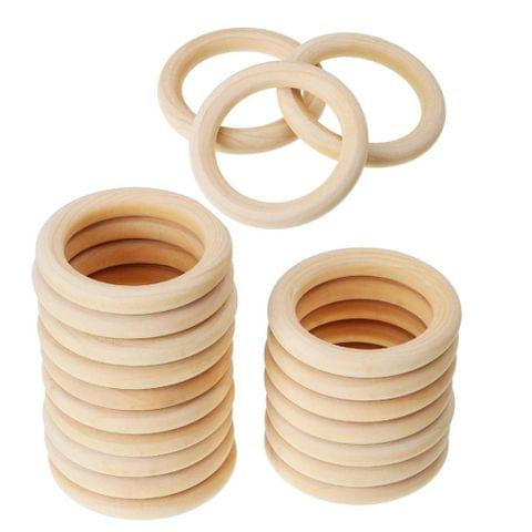 20pcs Wood Teething Rings - 55mm Unfinished Wooden Rings - DIY Maple Teething Ring Round DIY Toys for Baby Smooth