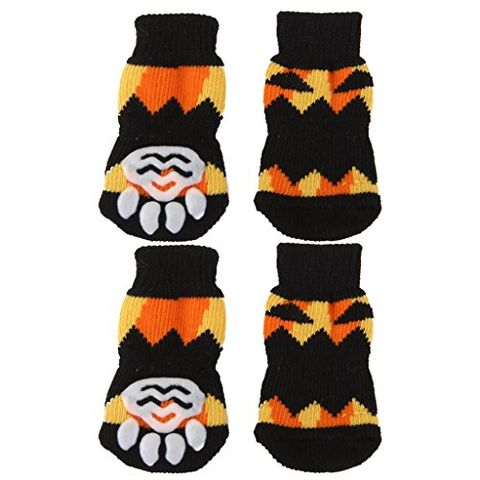 Pair of 2PCS Puppy Dog Cat Non Slip Flexible Fashionable Socks Footwear L Black +Yellow
