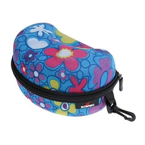Blue & Flower Print Skiing Goggles Waterproof Zipper Hard Case Box with Keychain for Ladies Snowboard Snowmobile