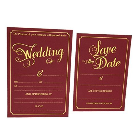 2pcs Set Wedding Day Evening Invitation Cards Wedding Reception Favors