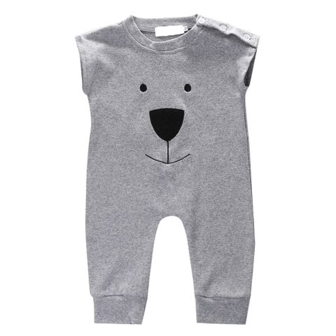 Cute Fashionable Baby Boy Cotton Jumpsuit Playsuit Summer Gift Gray 80CM