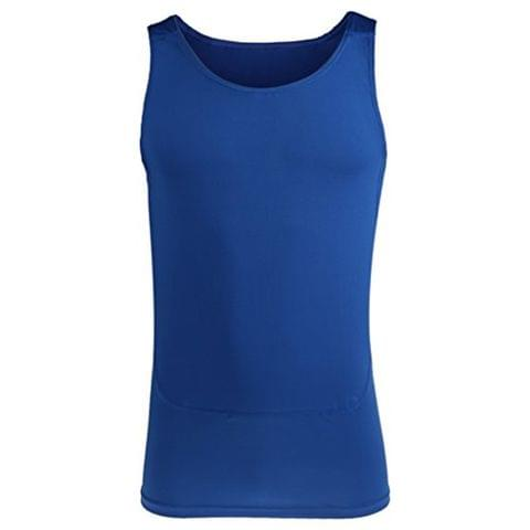 Mens Compression Vest Sleeveless Stretchable T-Shirt Athletic Tank Top Sports Fitness Basketball Hiking Cycling Clothing Blue L