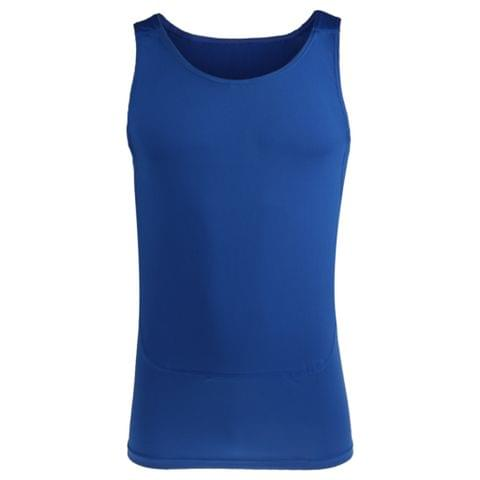 Mens Compression Vest Sleeveless Stretchable T-Shirt Athletic Tank Top Sports Fitness Basketball Hiking Cycling Clothing Blue XXL