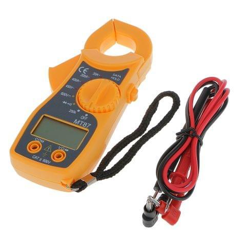 Digital Handheld Voltmeter Ammeter Ohmmeter Multimeter AC DC Tester Clamp Meter LCD Display with Red / Black Test Lead Wires