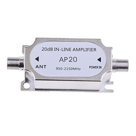 Satellite 20Db Gain Inline Amplifier 950-2150MHZ Signal Booster for Dish Network Antenna AMP Directv FTA RG6 Cables