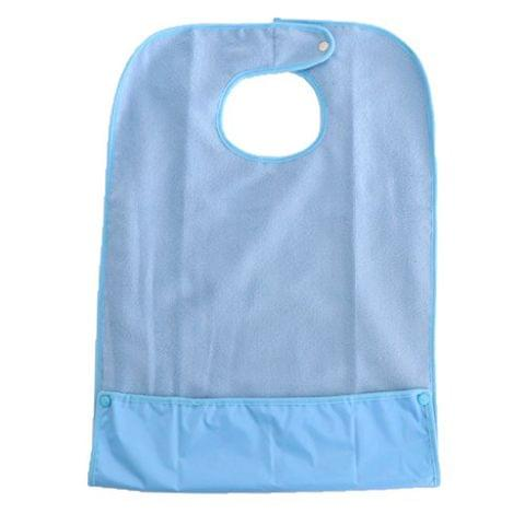 Waterproof Mealtime Protector Adult Bib 19'' x 31'' with Adjustable Snap Closure, Dining Disability Aid Clothes Apron Blue