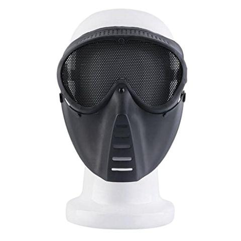 Durable Mesh Full Face Protecting Mask Black for CS Game Hunting Camping Outdoor Accessory