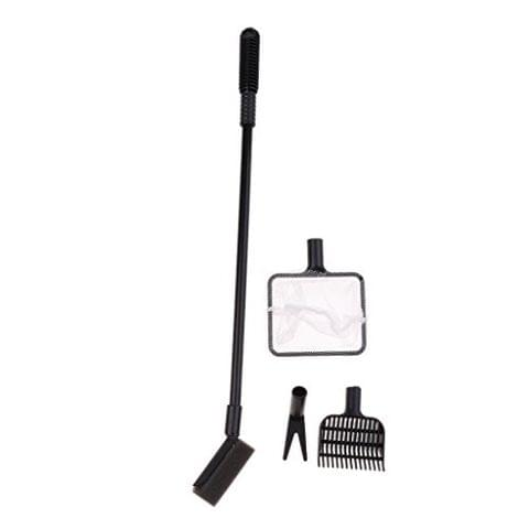 Aquarium 4 In1 Cleaning Tool Set Small Fish Tank Cleaner Clean Brush Black