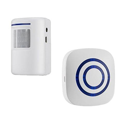Wireless Home Security Driveway Alarm Entry Alert Visitor Door Bell Chime with 1 Plug-in Receiver and 1 PIR Motion Sensor Detector Alert System Kit 38 Melodies EU Plug