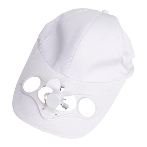 Air Fan Cooled Solar Powered Hat Cap For Baseball Camping Hiking Travelling Accessory White