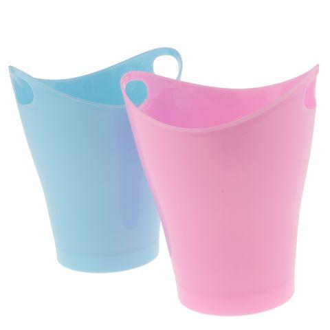 2Pcs Mini Trash Can Storage Boxes Organizer Plastic Container Red + Blue