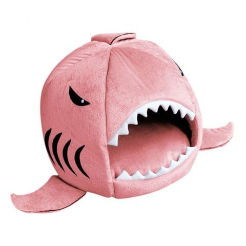 Washable Breathable Anti-Slip Base Pet Cat Shark Bed Puppy Dog Winter Warm Soft Cushion Mat Nesting Rest House Pink M