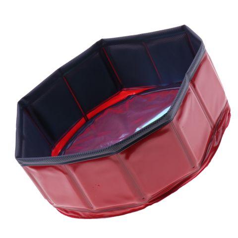 Foldable PVC Pet Play Paddling Pool Protable Puppy Swimming Cooling Bathing Tub Dia. 30cm ( Red )