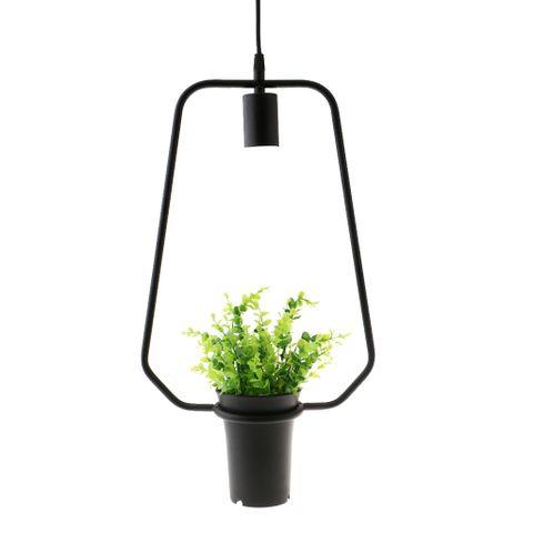 Black Geometric Iron Ceiling Lamp Pendant Light Plants Flower Pots Light Fixture #7