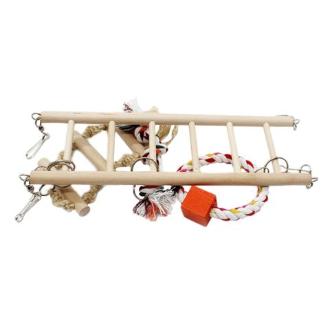 Bird Cage Chewing Toy Swing Toy Parrot Ladder Exercise Toy Cage Ornament