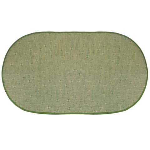 Set of Oval Mosquito Net Curtain with Straw Mat for Infant Green 106*58cm