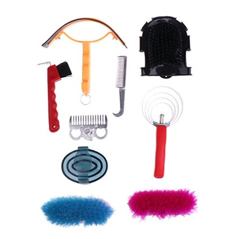 9pcs Equestrian Horse Grooming Kit Brush Comb Currycomb with Storage Bag 260 X 220 X 70mm