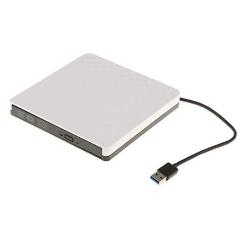External USB3.0 DVD ROM Super Driver CD Burner for PC Desktop Plug and Play White
