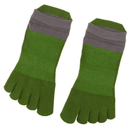1 Pairs Men's 5 Toe Socks Sports Five Finger Socks Breathable - Green