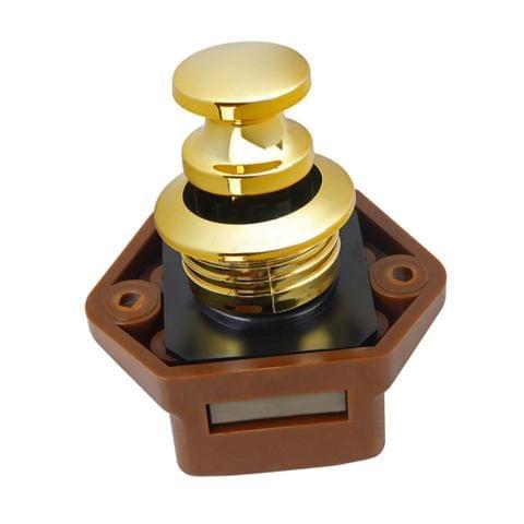 Push Button Catch Lock Cupboard Door Knob Campervan Caravan Motorhome Gold 20mm