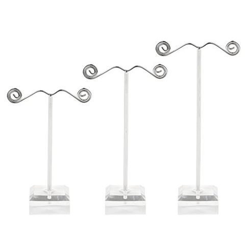 Pack of 3 Metal Jewelry Display Stand for Tassel Drop Earrings Necklace Rack