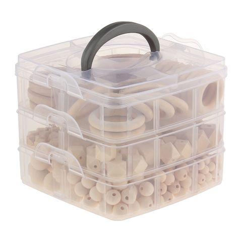 3-layer Baby Wood Beads Ring DIY Necklace Teething Bracelet Teether Toys Set