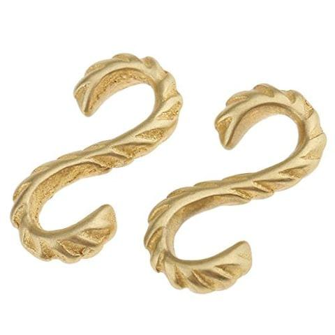 2 Pieces DIY Solid Brass S Shaped Thread Hook 3x2.3 cm