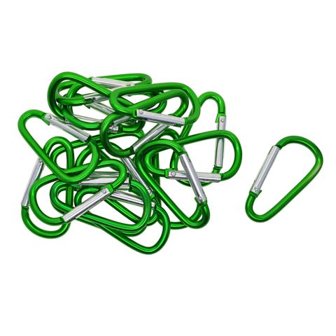 20 Pieces D Shape Carabiner Spring Clip Hook Keychain Key Clip Sports Climbing Hiking Hook for Outdoor Sports Travel Green