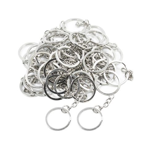 50 Pieces Split Key Rings with Chain Bulk for DIY Key Chains Accessories Arts Crafts, Jewelry Making Findings, 25mm / 1 inch