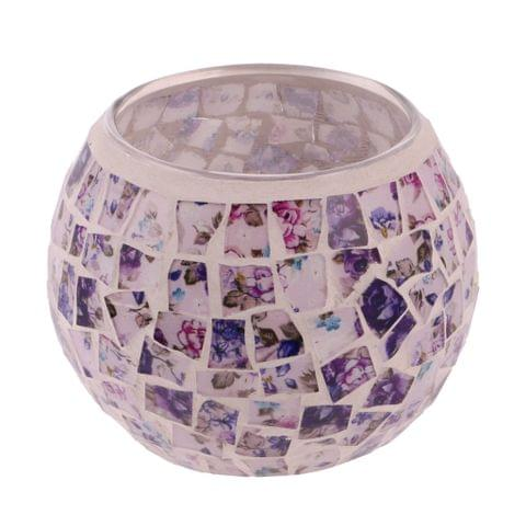 Home Wedding Party Pub Cafe Decor Open Mouth European Style Masaic Glass Crackle Round Candle Tealight Holder Cup 8cm #C