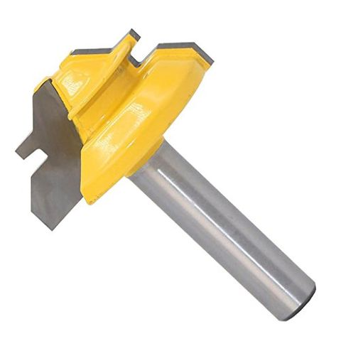 8mm Shank x 1-3/8'' Lock Miter Router Bit 45 Degree Woodworking Cutter Tool, Made of cemented Carbide for high Hardness and Long Service Life