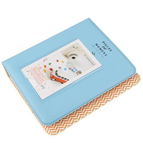 64 Pockets Picture Album Case Wedding Family Photo for Mini Fuji & Name Card Blue
