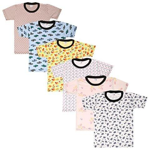 S.R.Kids Cotton Girl Round Neck Multi Color Tshirts (Pack of 6)