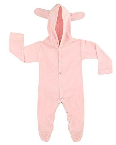 LEWEL Baby Velvet Bunny Hooded Pink Bodysuit - Unisex, Extra soft to keep Baby Warm & Cosy – 100% Tested Velvet Fabric - Comfort Fit, 6 months to 12 months - Dolley Edition