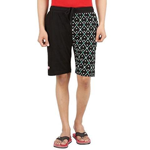 SIXER Men's Cotton Black Printed Shorts