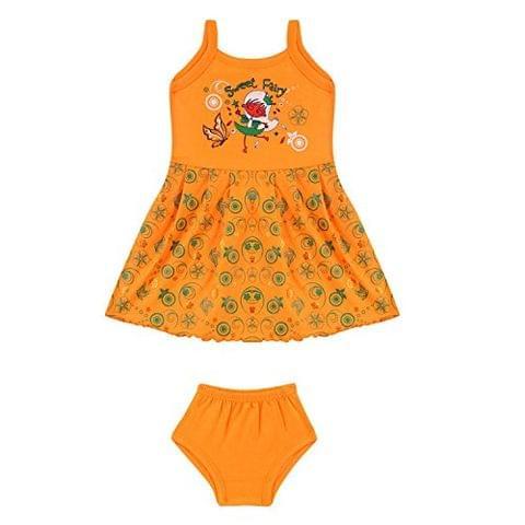 Sixer Baby Wake Up Girls Frock Set - Orange